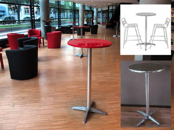 table ronde rouge et argenté