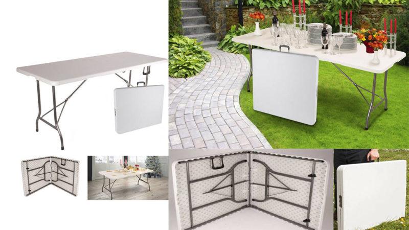 table rectangulaire pliable et portable