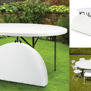 table blanc rond pliable et portable
